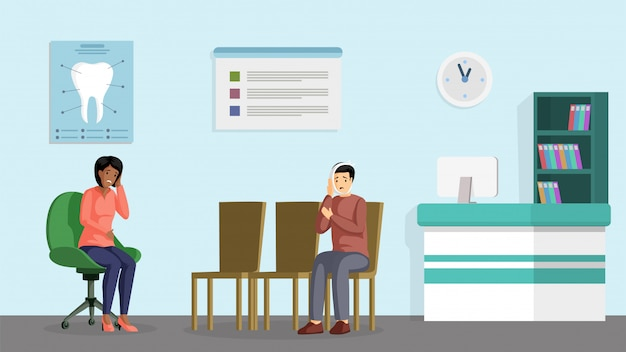Dental clinic visit flat banner. orthodontic treatment center patients cartoon character. young man and woman with toothache waiting in stomatology reception, dentist appointment