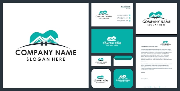 Dental combination real estate logo and business card premium