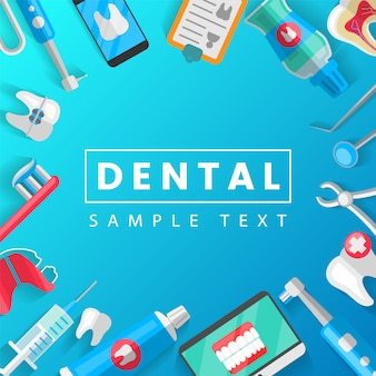 Dental concept with flat icons isolated template