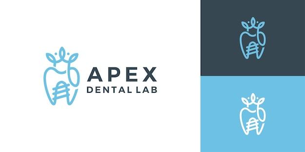Dental crown implant orthodontic logo design modern template