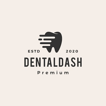 Dental dash  vintage logo  icon illustration