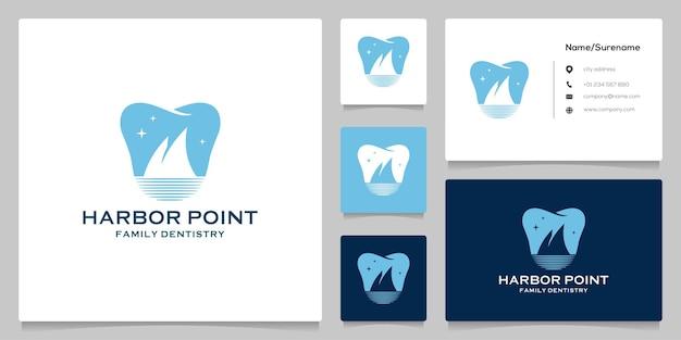치과 치과 부정적인 공간 물 해변 항구 로고 디자인