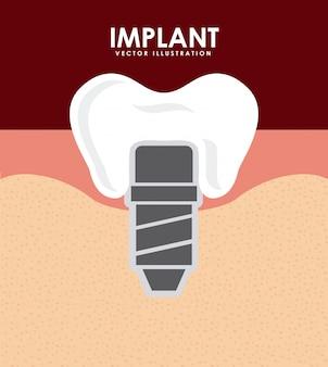 Dental design over red background vector illustration