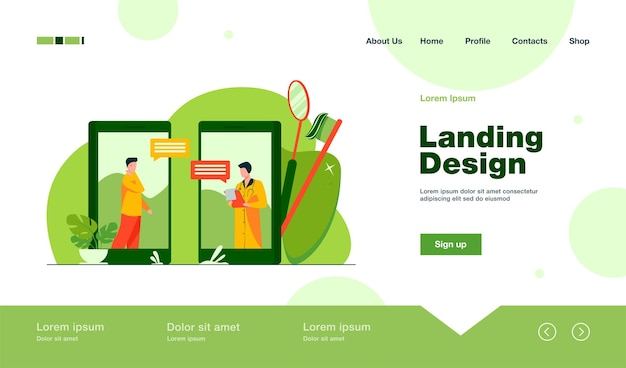 Dental doctor consulting patient online landing page in flat style