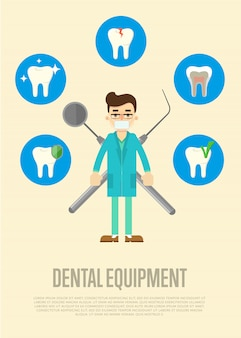 Dental equipment banner with male dentist