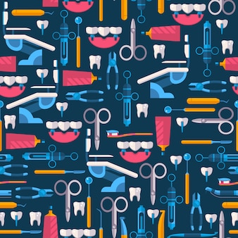 Dental equipment and oral hygiene tools in seamless pattern