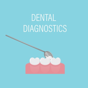 Dental examination of teeth with a mirror. professional preventive dental appointment. oral care.