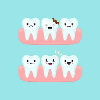 Dental filling on a broken tooth stomatology concept. cute cartoon  teeth isolated illustration