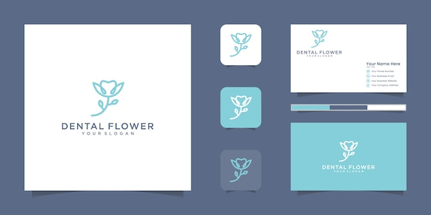 Dental flower logo with a line style and business card inspiration