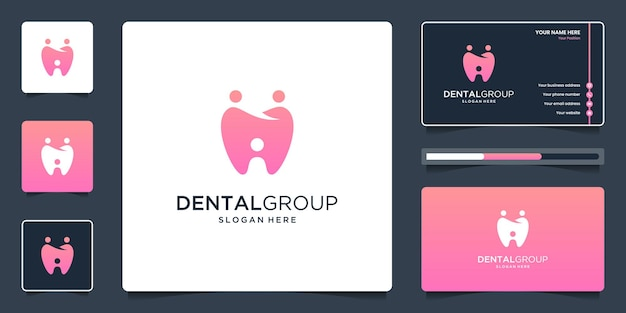 Dental group logo with human unity, people family or social group logo design and business card.