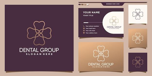 ユニークな線形スタイルと名刺デザインプレミアムベクトルと歯科グループのロゴ