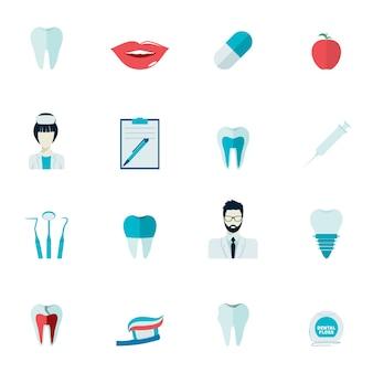 Зубное здоровье и кариес зубы инструменты здравоохранения зубной защиты плоский набор значков изолированных векторной иллюстрации