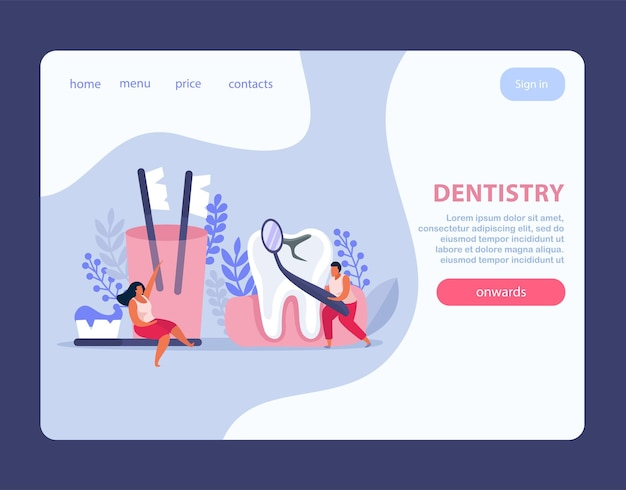 Dental health flat landing page website design with clickable buttons links and text with doodle images