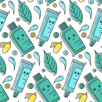 Dental health seamless pattern in doodle style.