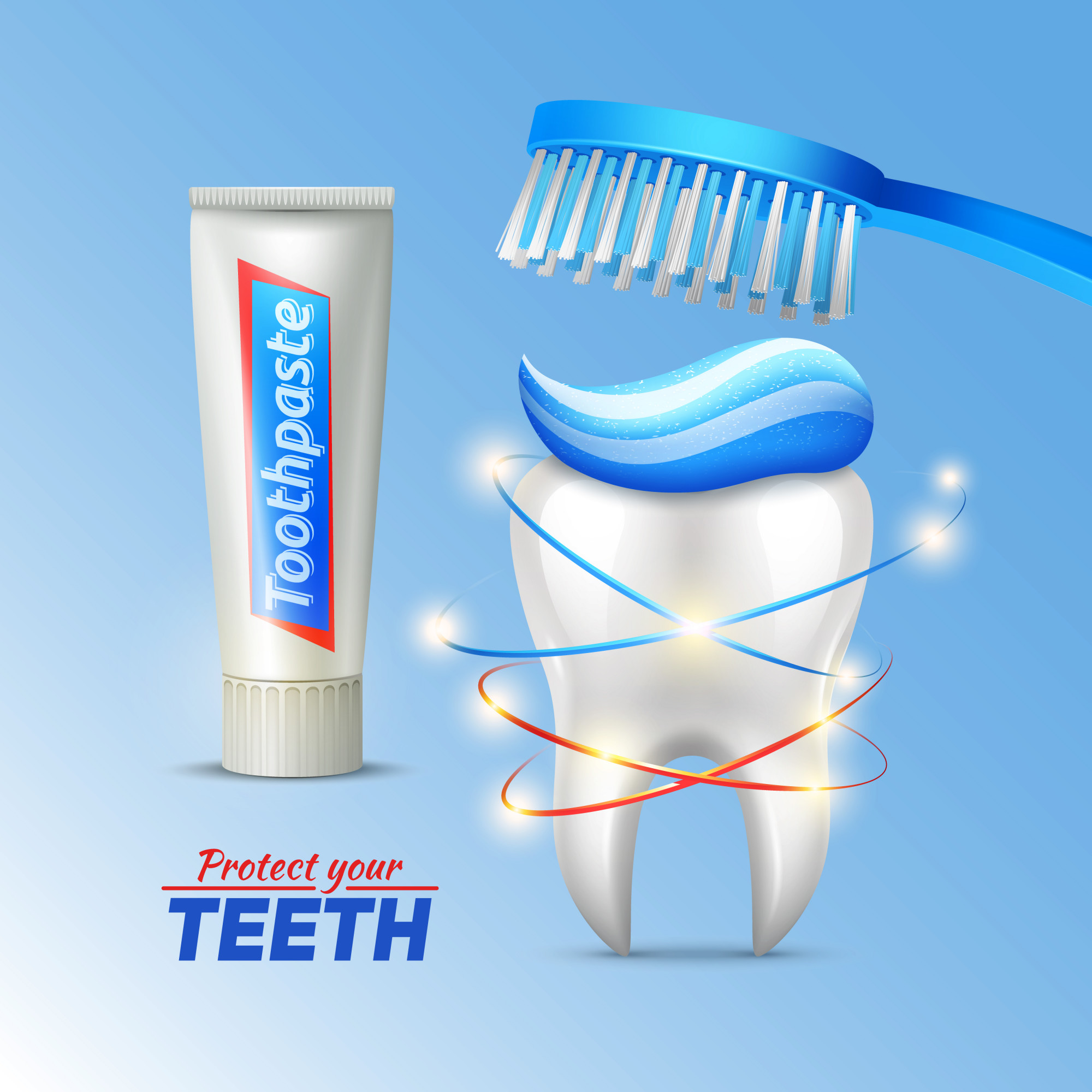 Dental hygiene concept with tooth toothbrush toothpaste and writing protect your teeth