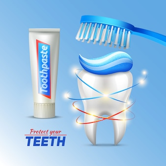 Concetto di igiene dentale con spazzolino da denti dentifricio e scrittura proteggere i denti