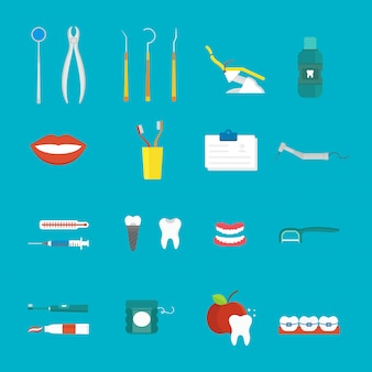 Dental hygiene medical concept flat style with cross section healthy tooth care icons vector.