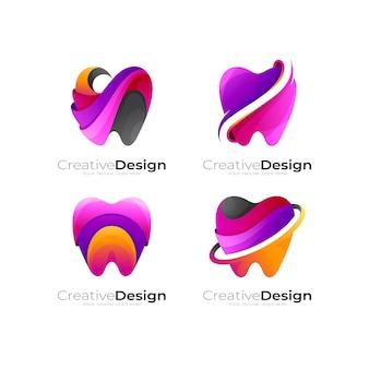 Dental icon vector, set dental logo colorful