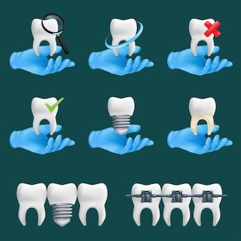 さまざまな要素で設定された歯科用アイコン。歯のセラミックモデルを保持している青い保護手術用手袋を着用した3dリアルな歯科医の手