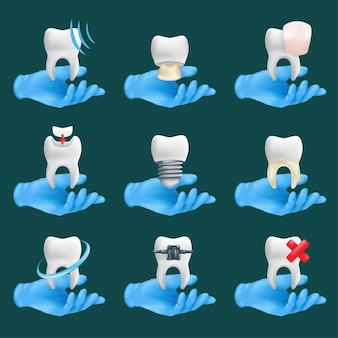 Dental icons set with different elements. 3d realistic dentist's hands wearing blue protective surgical gloves holding a teeth ceramic models Premium Vector
