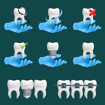 Dental icons set with different elements. 3d realistic dentist's hands wearing blue protective surgical gloves holding a teeth ceramic models