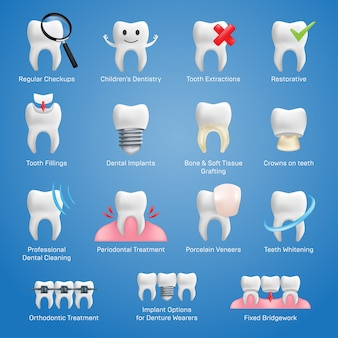 Dental icons set with different elements for various website services