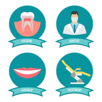 Dental icons with doctor