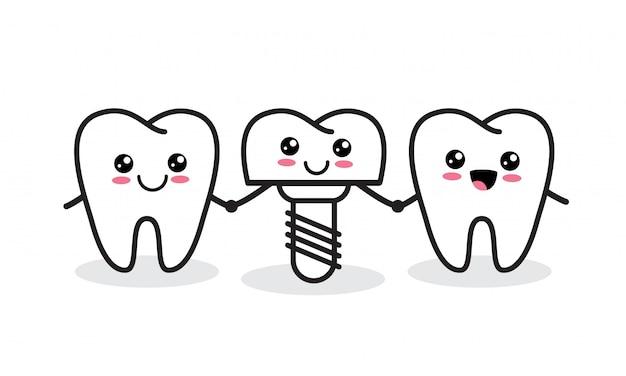 歯科インプラント。かわいい健康な歯とインプラントのキャラクター。
