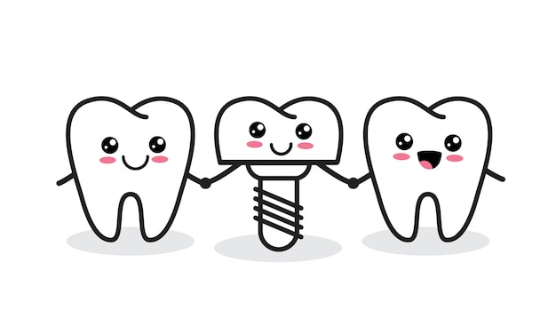 Dental implant. cute healthy tooth and implant characters.