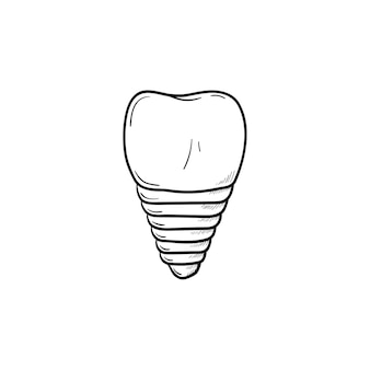 Dental implant hand drawn outline doodle icon. dentistry, stomatology and dental care concept