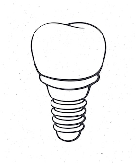 Dental implant of human tooth outline vector illustration symbol of somatology and oral hygiene