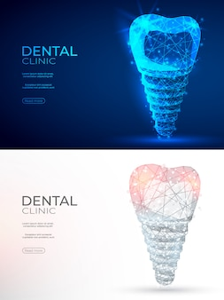 Dental implant polygonal genetic engineering abstract background.