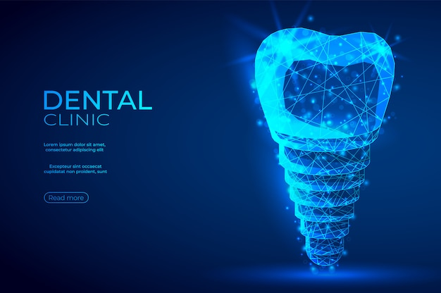 Dental implant polygonal genetic engineering abstract blue banner.