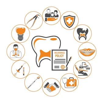 Концепция стоматологического страхования. стоматологическая помощь с плоскими двухцветными значками зуба и страхового полиса, стоматолога, шприца, запястья и имплантата. отдельные векторные иллюстрации