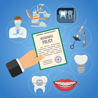 Dental insurance service with hand holds insurance policy and dentist