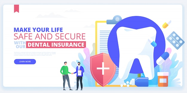 Dental insurance, tooth treatment, vector concept