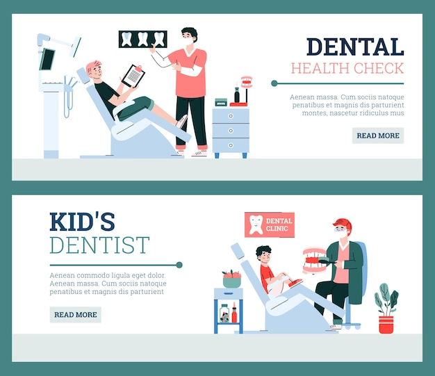Dental kids and adults care banners or flyers set cartoon vector illustration