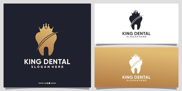 Dental and king crown logo design template with unique concept premium vector