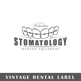 白い背景で隔離の歯科ラベル