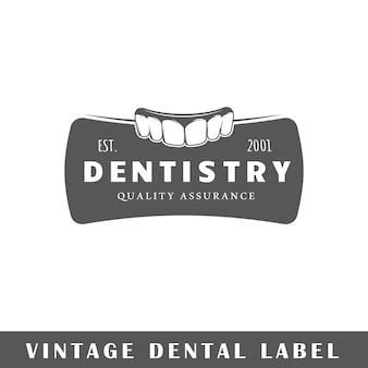 Dental label isolated on white background