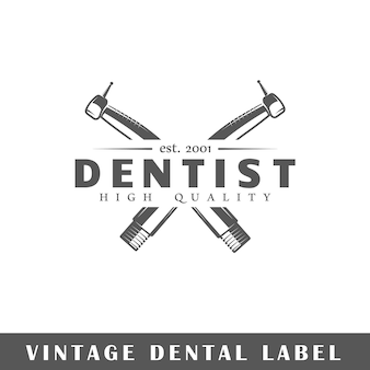 Dental label on white