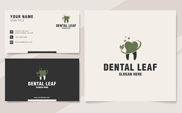 Dental leaf logo template on monogram style