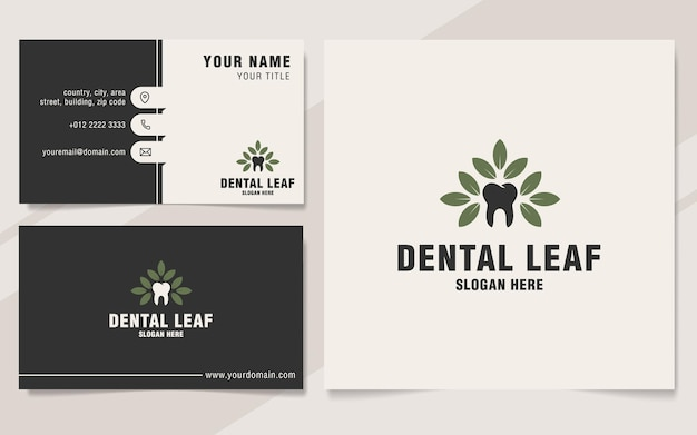 Шаблон логотипа стоматологического листа в стиле монограммы