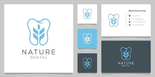 Dental leaf nature garden logo design illustrations