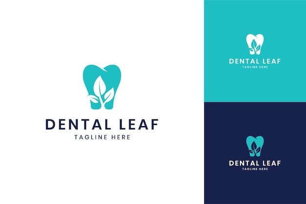 Dental leaf negative space logo design