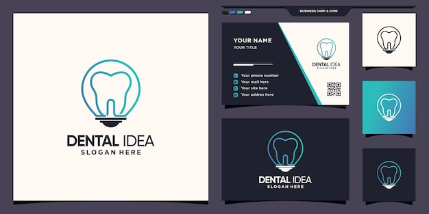 Dental and light bulb logo with creative linear style and business card design premium vector