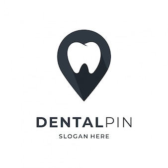 ピンの場所の要素を持つ歯科ロゴのコンセプト。
