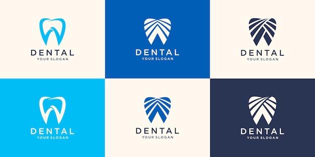 歯科ロゴデザイン。創造的な歯科医のロゴ。歯科医院クリエイティブ会社のベクトルのロゴ。