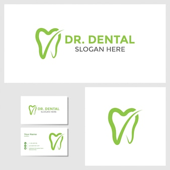 Dental logo design inspiration with business card mockup