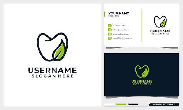 Dental logo design with line art style and nature leave concept with business card template